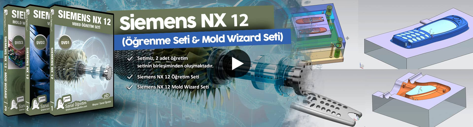 Siemens Nx 12 (Öğrenme Seti & Mold Wizard Seti) | Sanal Öğretim