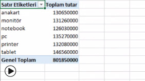 EXCEL: Özet Tablolar - Pivot Table
